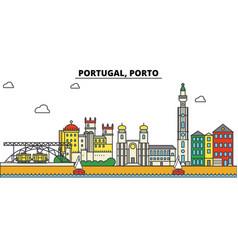 portugal porto city skyline architecture vector image