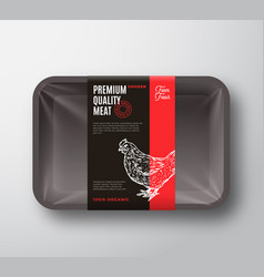 premium quality chicken meat package and label vector image