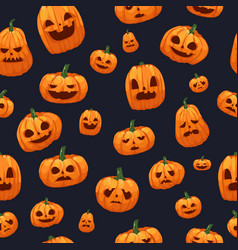 pumpkins jack o lantern seamless wallpaper vector image