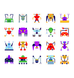 Robot simple flat color icons set vector