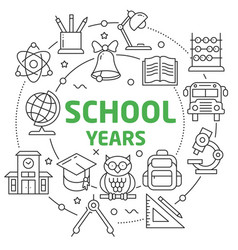 school years linear vector image