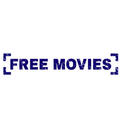 Scratched textured free movies stamp seal between vector
