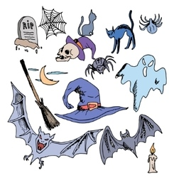 seamless pattern for Halloween ghost bat vector image