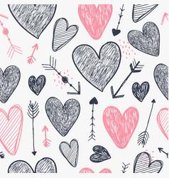 seamless romantic pattern hearts vector image