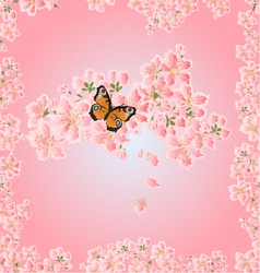 Seamless texture cherry blossoms and butterfly Sea vector image