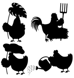 set chicken silhouette vector image