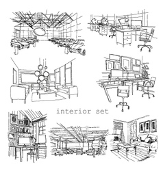 Set of different interior sketch vector image