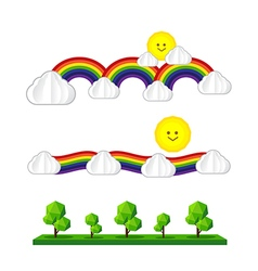 Set of sun cloud rainbow tree sun icon isolated on vector image