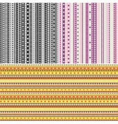 Set of three ribbon seamless patterns vector image