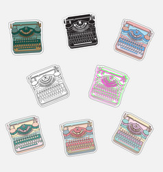 set of vintage sticker badges with typewriters vector image
