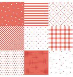 set red cute seamless patterns vector image
