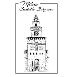 Sforza castle or castello sforzesco sketch vector