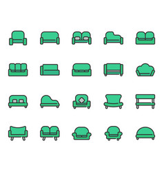 sofa and seat icon set vector image
