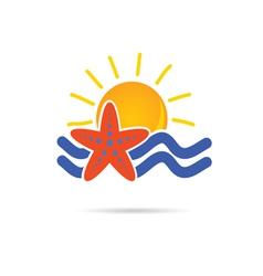 Sun icon with sea star color vector