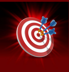 Target with darts target 3d background vector