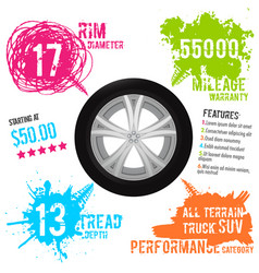 tire tread marks infographic vector image
