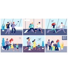 tourists airport people with luggage in vector image