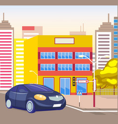 townscape with street and vehicle urban lifestyle vector image