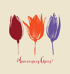 tulip flowers stylish floral card hand drawn vector image