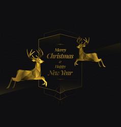 two golden reindeers merry christmas vector image