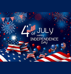 usa 4th july happy independence day design vector image