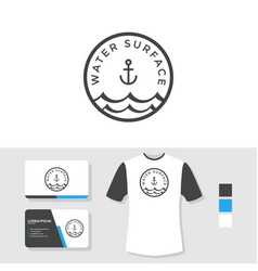 water surface logo design with business card vector image