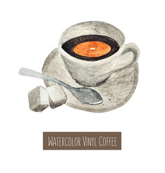 watercolor hand drawn cup coffee vector image