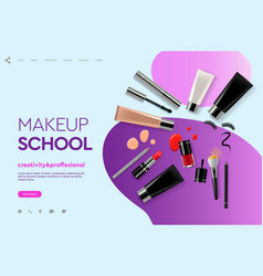 web page design template for makeup school course vector image
