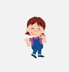 White girl in jeans with funny expression vector