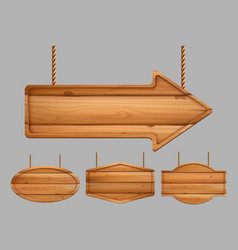 wooden banners realistic advertizing sign boards vector image