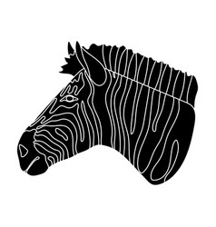 zebra icon in black style isolated on white vector image