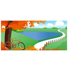 Bicycle under tree vector image