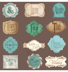 Calligraphic Wedding Elements in Vintage Frames vector image