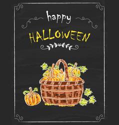 halloween pumkins doodle on the black board vector image vector image