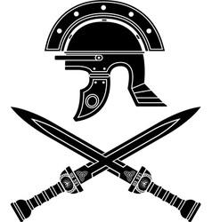 roman helmet and swords fifth variant vector image