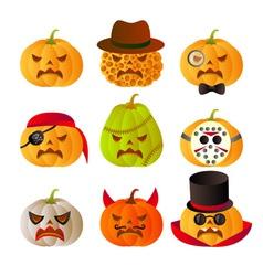 Set of 9 halloween carved pumpkins vector image