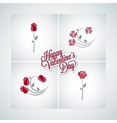 valentines day rose set design background vector image