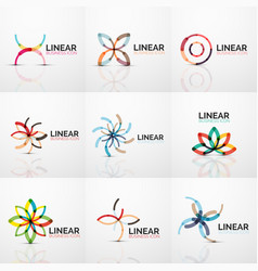 abstract line geometric line business icons vector image vector image