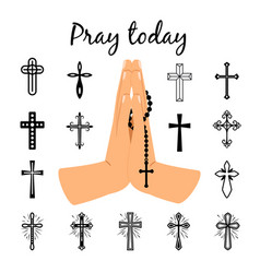 Catholic praying hands holding beads vector