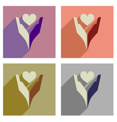 concept of flat icons with long shadow heart hands vector image vector image