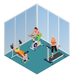 Fitness woman working out on exercise bike Young vector image vector image