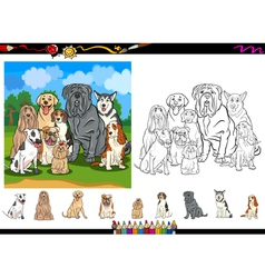 dog breeds cartoon coloring page set vector image