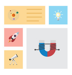Flat icon study set of lightbulb attractive force vector
