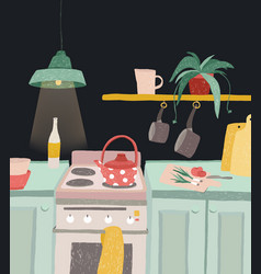 Hand drawn home cooking in cartoon style colorful vector