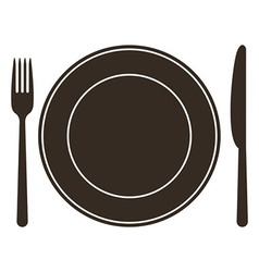 Place setting with plate knife and fork vector image vector image