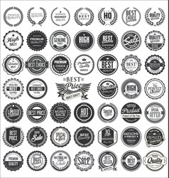 retro vintage design quality badges collection vector image vector image