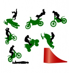 stunt show on a motorcycle vector image vector image