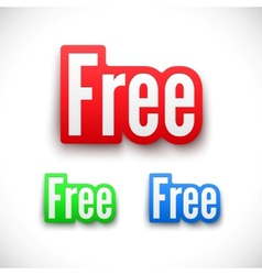 3D Free stickers set vector image