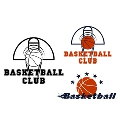 Basketball emblems with game items vector