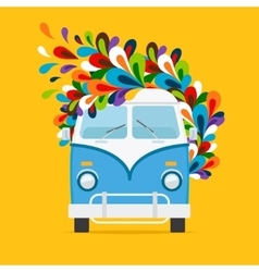 Hippie blue van icon vector image vector image